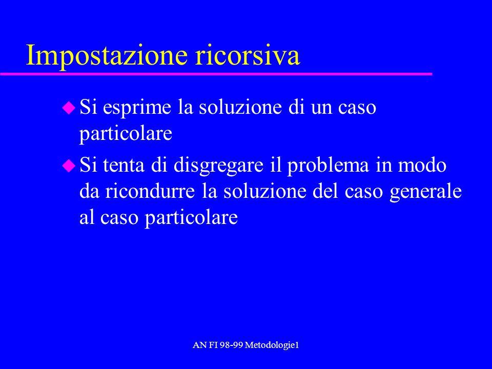 AN FI 98-99 Metodologie1 Impostazione ricorsiva u Si esprime la soluzione di un caso particolare u Si tenta di disgregare il problema in modo da ricon