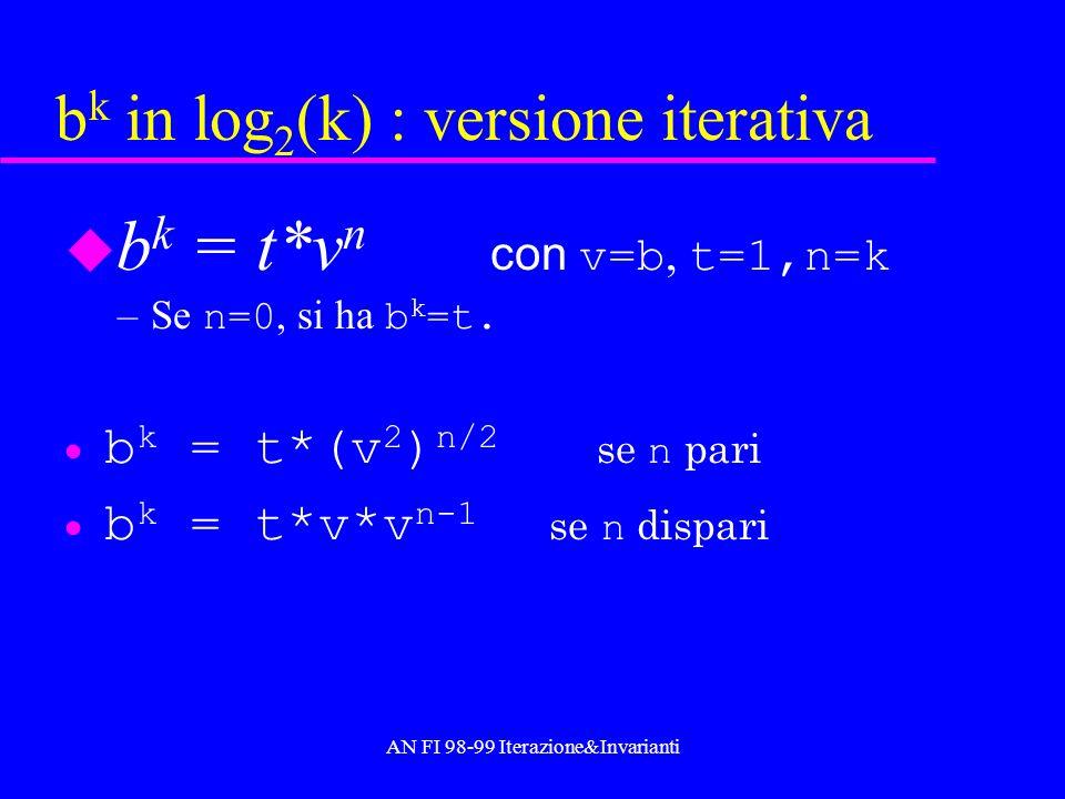 AN FI 98-99 Iterazione&Invarianti b k in log 2 (k) : versione iterativa b k = t*v n con v=b, t=1,n=k –Se n=0, si ha b k =t. b k = t*(v 2 ) n/2 se n pa