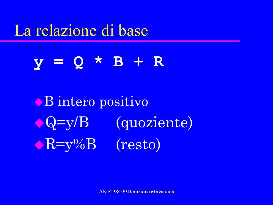 AN FI 98-99 Iterazione&Invarianti La relazione di base y = Q * B + R u B intero positivo u Q=y/B (quoziente) u R=y%B(resto)