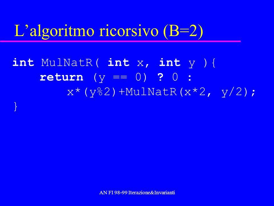 AN FI 98-99 Iterazione&Invarianti Lalgoritmo ricorsivo (B=2) int MulNatR( int x, int y ){ return (y == 0) ? 0 : x*(y%2)+MulNatR(x*2, y/2); }