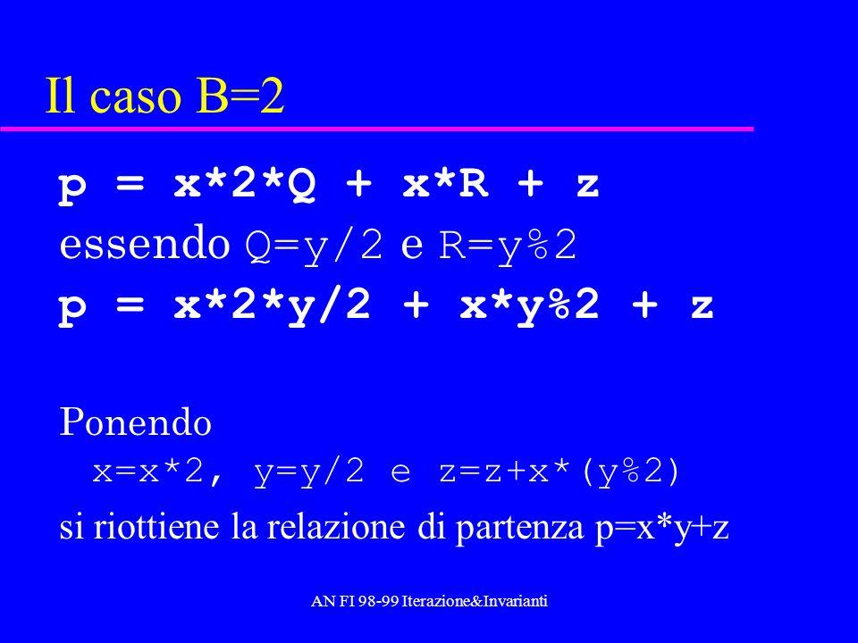 AN FI 98-99 Iterazione&Invarianti Il caso B=2 p = x*2*Q + x*R + z essendo Q=y/2 e R=y%2 p = x*2*y/2 + x*y%2 + z Ponendo x=x*2, y=y/2 e z=z+x*(y%2) si