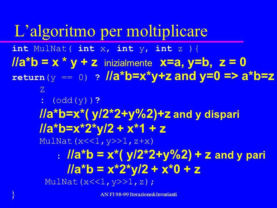 AN FI 98-99 Iterazione&Invarianti Lalgoritmo per moltiplicare int MulNat( int x, int y, int z ){ //a*b = x * y + z inizialmente x=a, y=b, z = 0 return