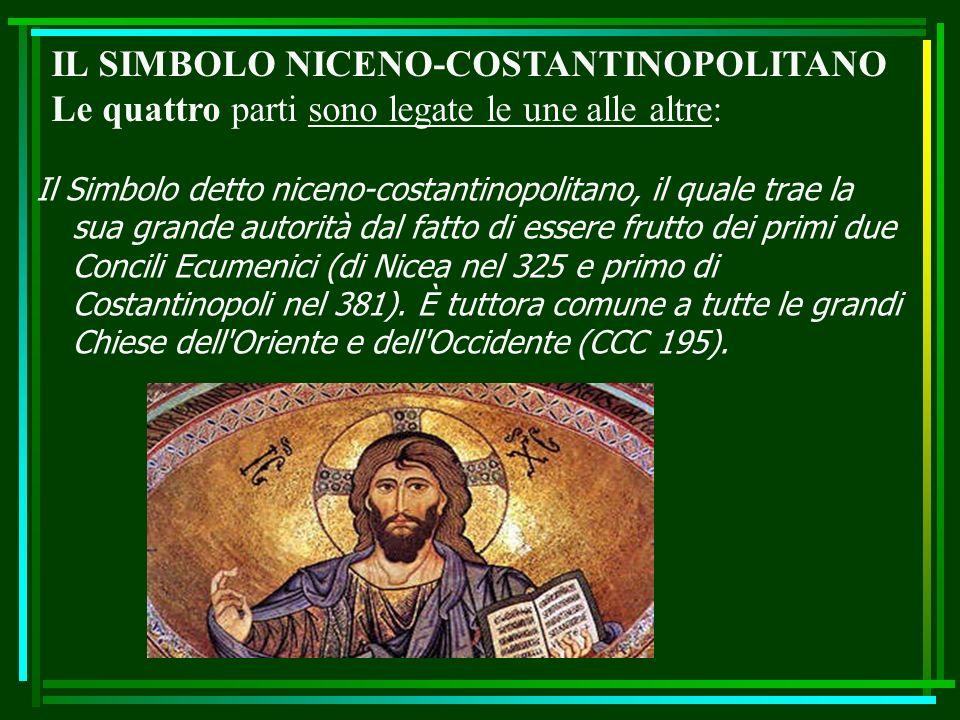 Il Simbolo detto niceno-costantinopolitano, il quale trae la sua grande autorità dal fatto di essere frutto dei primi due Concili Ecumenici (di Nicea nel 325 e primo di Costantinopoli nel 381).