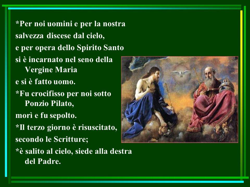 *Per noi uomini e per la nostra salvezza discese dal cielo, e per opera dello Spirito Santo si è incarnato nel seno della Vergine Maria e si è fatto u
