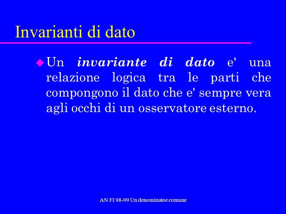 AN FI 98-99 Un denominatoe comune Invarianti di dato u Un invariante di dato e una relazione logica tra le parti che compongono il dato che e sempre vera agli occhi di un osservatore esterno.