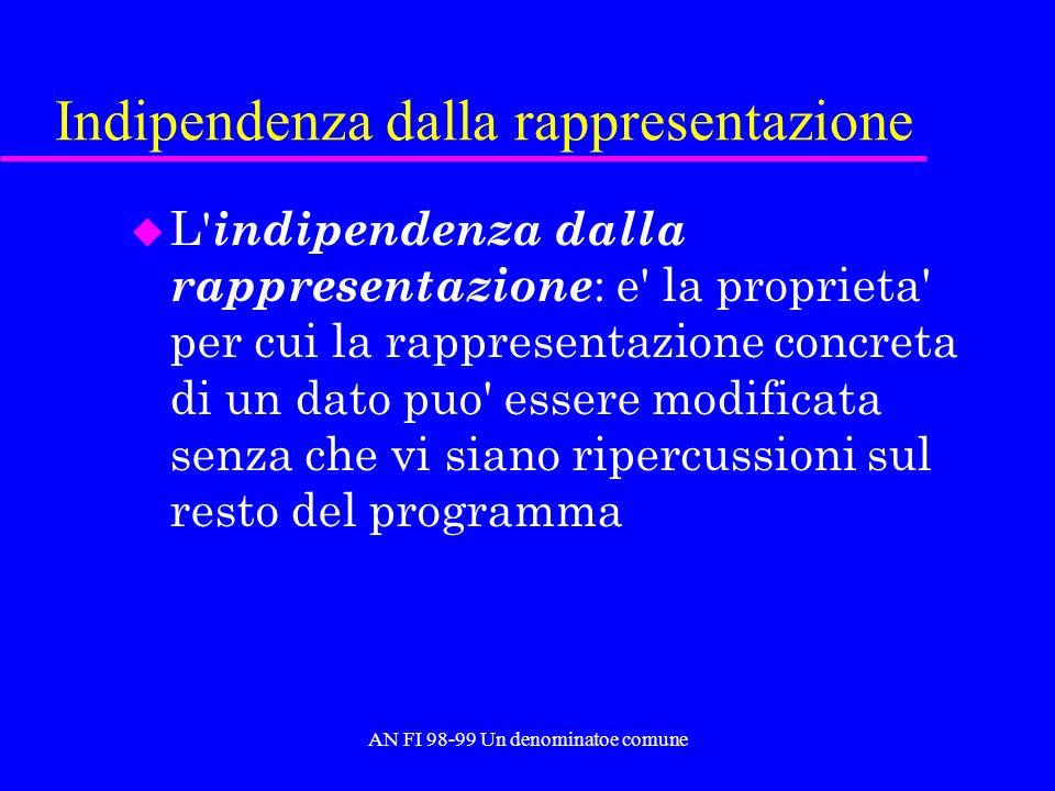 AN FI 98-99 Un denominatoe comune Indipendenza dalla rappresentazione u L indipendenza dalla rappresentazione : e la proprieta per cui la rappresentazione concreta di un dato puo essere modificata senza che vi siano ripercussioni sul resto del programma