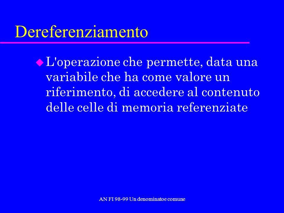 AN FI 98-99 Un denominatoe comune Dereferenziamento u L operazione che permette, data una variabile che ha come valore un riferimento, di accedere al contenuto delle celle di memoria referenziate