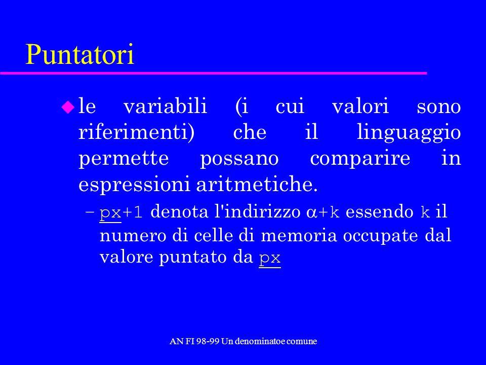 AN FI 98-99 Un denominatoe comune Puntatori u le variabili (i cui valori sono riferimenti) che il linguaggio permette possano comparire in espressioni aritmetiche.