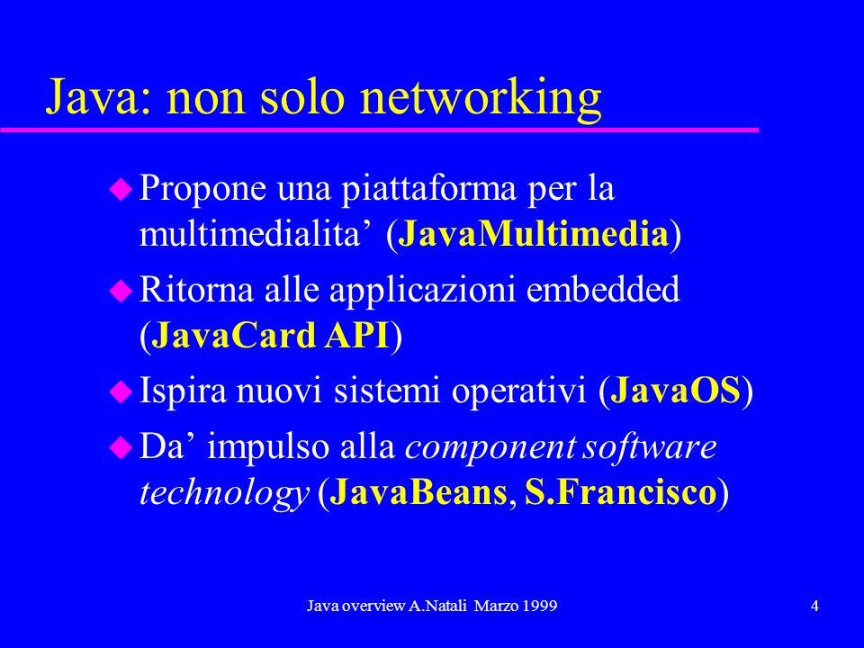 Java overview A.Natali Marzo 19994 Java: non solo networking u Propone una piattaforma per la multimedialita (JavaMultimedia) u Ritorna alle applicazi