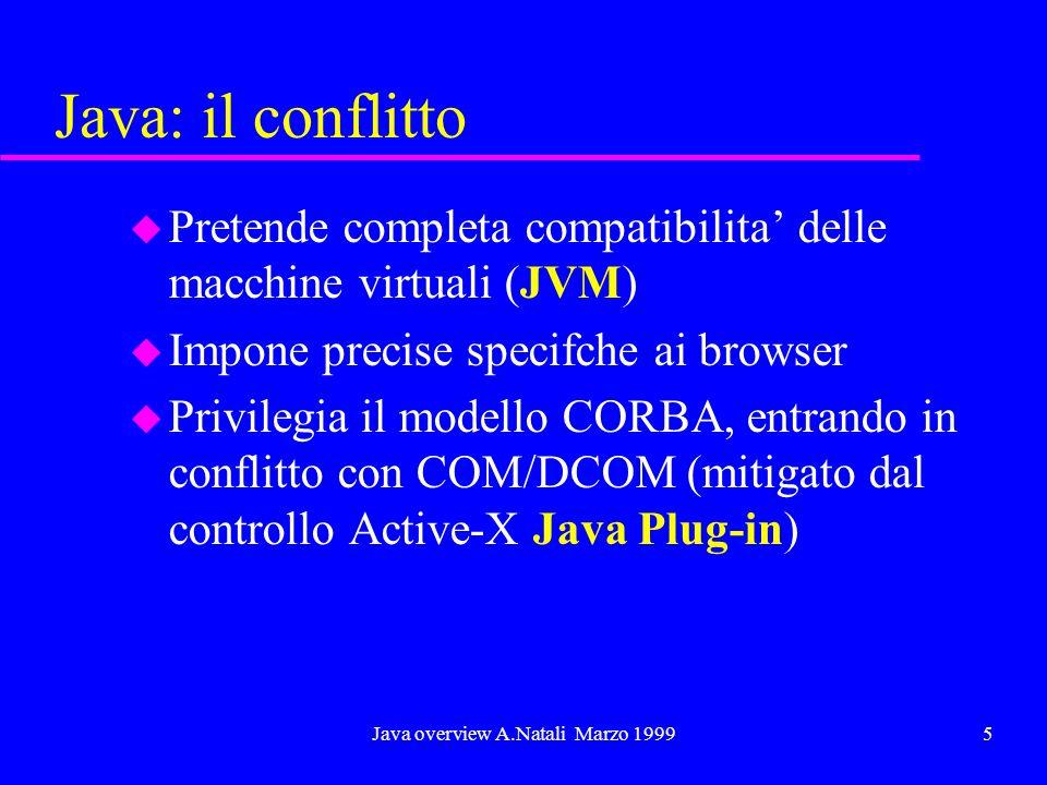 Java overview A.Natali Marzo 19995 Java: il conflitto u Pretende completa compatibilita delle macchine virtuali (JVM) u Impone precise specifche ai browser u Privilegia il modello CORBA, entrando in conflitto con COM/DCOM (mitigato dal controllo Active-X Java Plug-in)