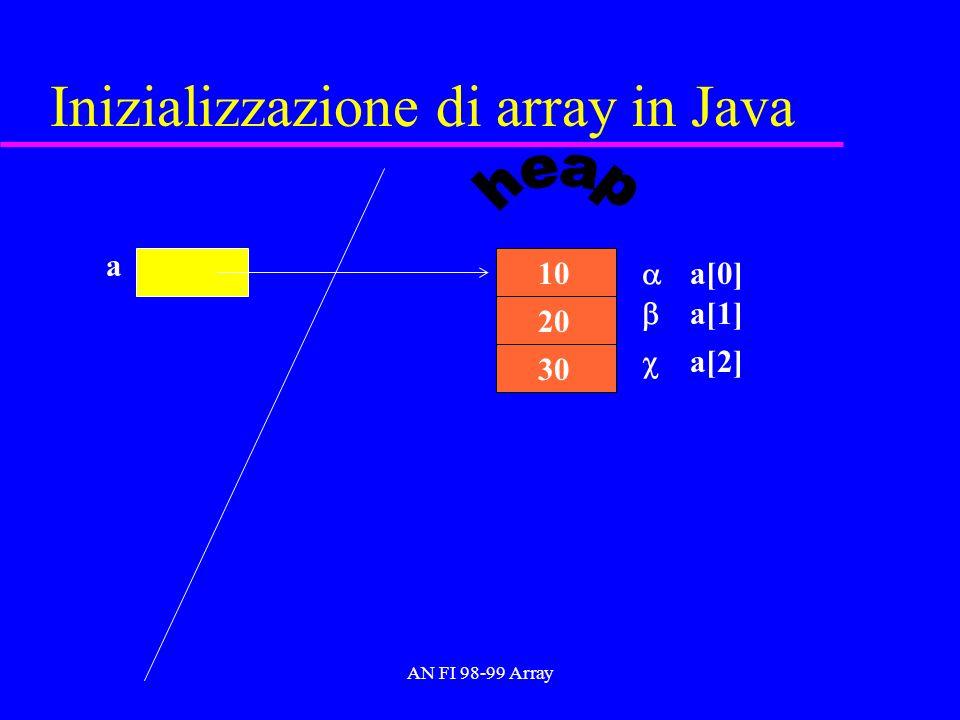 AN FI 98-99 Array Inizializzazione di array in Java a 30 20 10 a[0] a[1] a[2]