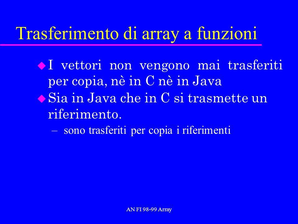 AN FI 98-99 Array Trasferimento di array a funzioni u I vettori non vengono mai trasferiti per copia, nè in C nè in Java u Sia in Java che in C si tra