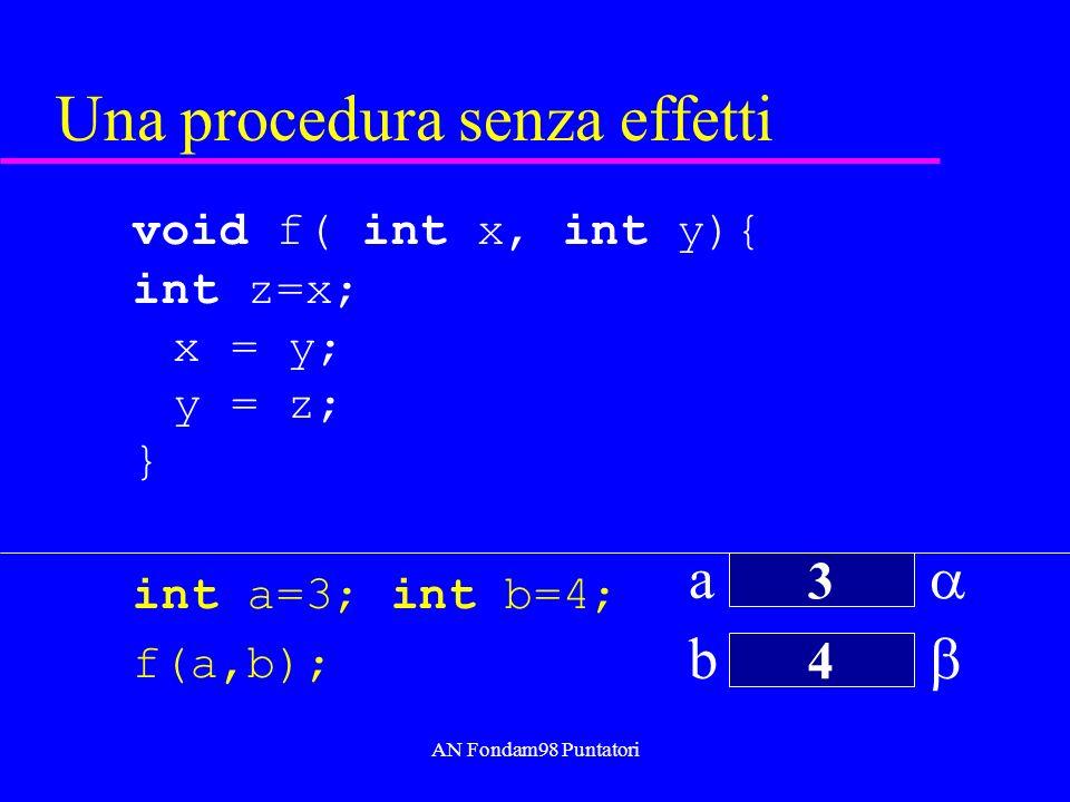 AN Fondam98 Puntatori Puntatori e type system int x = 3; double y = 3.0; int* px = &x; double* py = &y; int* q; q = px; //ok q = py; u Warning: assignment from incompatible pointer type