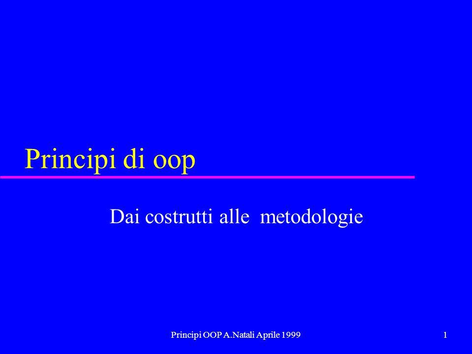 Principi OOP A.Natali Aprile 19991 Principi di oop Dai costrutti alle metodologie