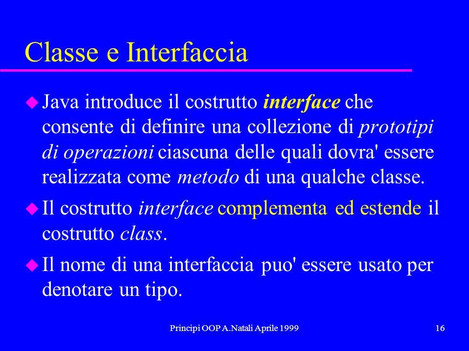 Principi OOP A.Natali Aprile 199916 Classe e Interfaccia u Java introduce il costrutto interface che consente di definire una collezione di prototipi di operazioni ciascuna delle quali dovra essere realizzata come metodo di una qualche classe.