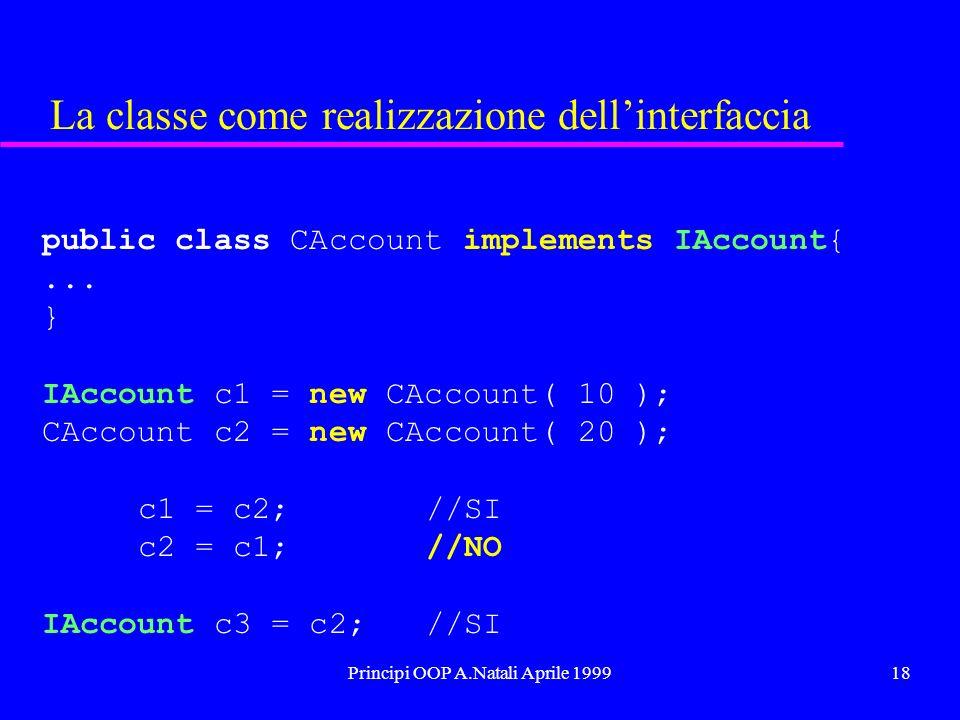Principi OOP A.Natali Aprile 199918 La classe come realizzazione dellinterfaccia public class CAccount implements IAccount{... } IAccount c1 = new CAc