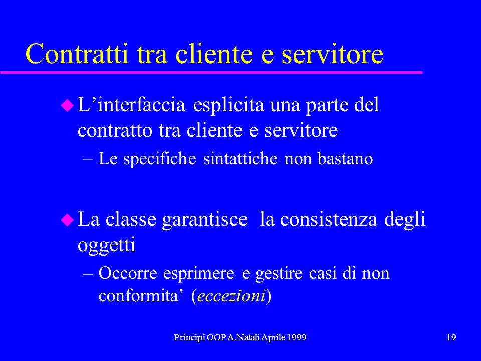 Principi OOP A.Natali Aprile 199919 Contratti tra cliente e servitore u Linterfaccia esplicita una parte del contratto tra cliente e servitore –Le spe