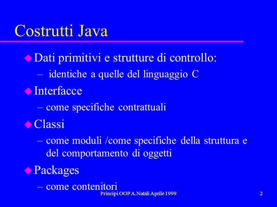 Principi OOP A.Natali Aprile 19992 Costrutti Java u Dati primitivi e strutture di controllo: – identiche a quelle del linguaggio C u Interfacce –come specifiche contrattuali u Classi –come moduli /come specifiche della struttura e del comportamento di oggetti u Packages –come contenitori