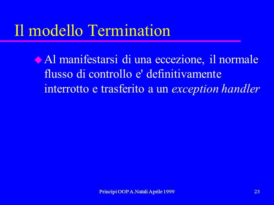 Principi OOP A.Natali Aprile 199923 Il modello Termination u Al manifestarsi di una eccezione, il normale flusso di controllo e definitivamente interrotto e trasferito a un exception handler