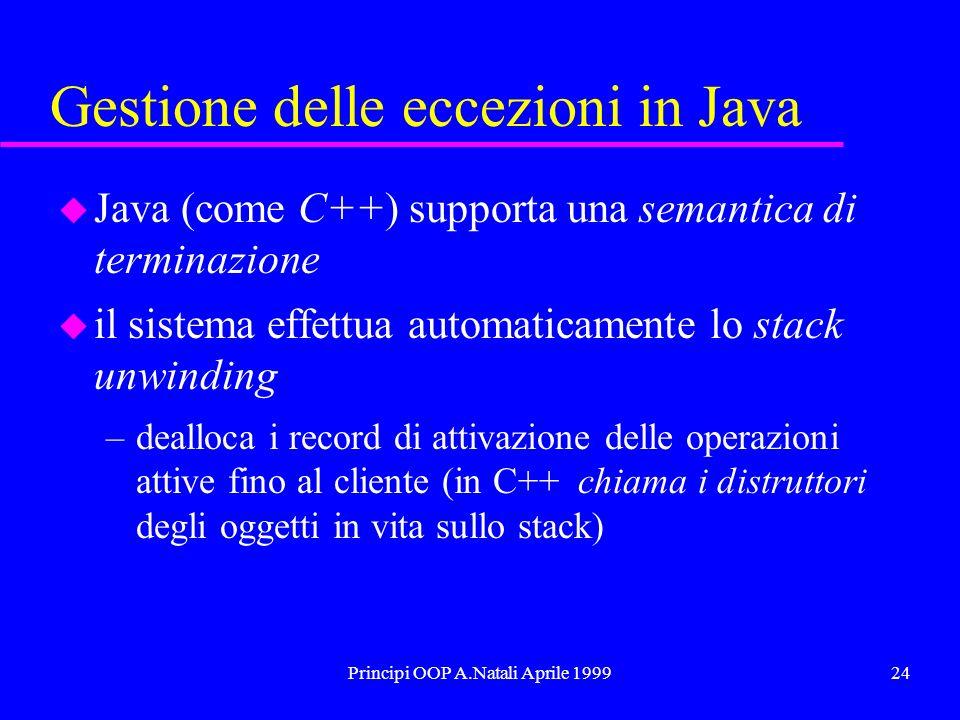 Principi OOP A.Natali Aprile 199924 Gestione delle eccezioni in Java u Java (come C++) supporta una semantica di terminazione u il sistema effettua automaticamente lo stack unwinding –dealloca i record di attivazione delle operazioni attive fino al cliente (in C++ chiama i distruttori degli oggetti in vita sullo stack)