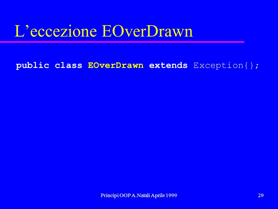 Principi OOP A.Natali Aprile 199930 Una nuova specifica public interface IAccount{ public void debit( double v ) throws EOverDrawn; //prelievo con eccezione public void credit( double v ); //deposito public String toString(); //lettura } IAccount c1 = new CAccount( 10 ); try{ c1.debit( 500 ); }catch( Exception e ){ … }