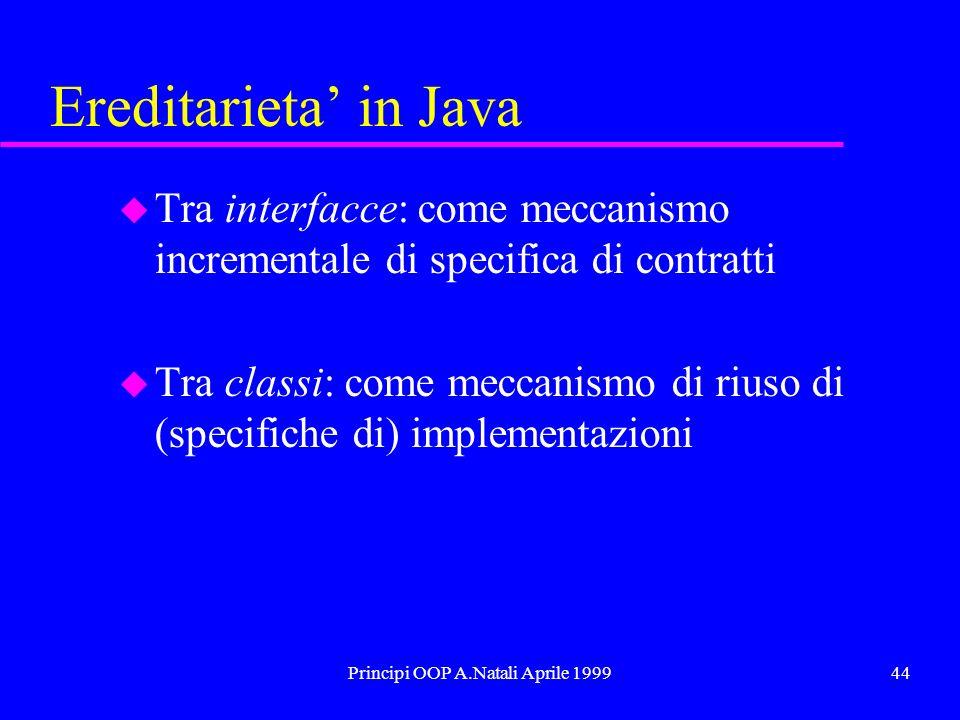 Principi OOP A.Natali Aprile 199944 Ereditarieta in Java u Tra interfacce: come meccanismo incrementale di specifica di contratti u Tra classi: come meccanismo di riuso di (specifiche di) implementazioni
