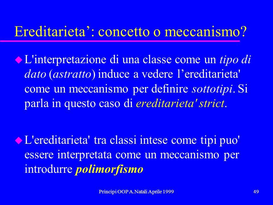 Principi OOP A.Natali Aprile 199949 Ereditarieta: concetto o meccanismo? u L'interpretazione di una classe come un tipo di dato (astratto) induce a ve