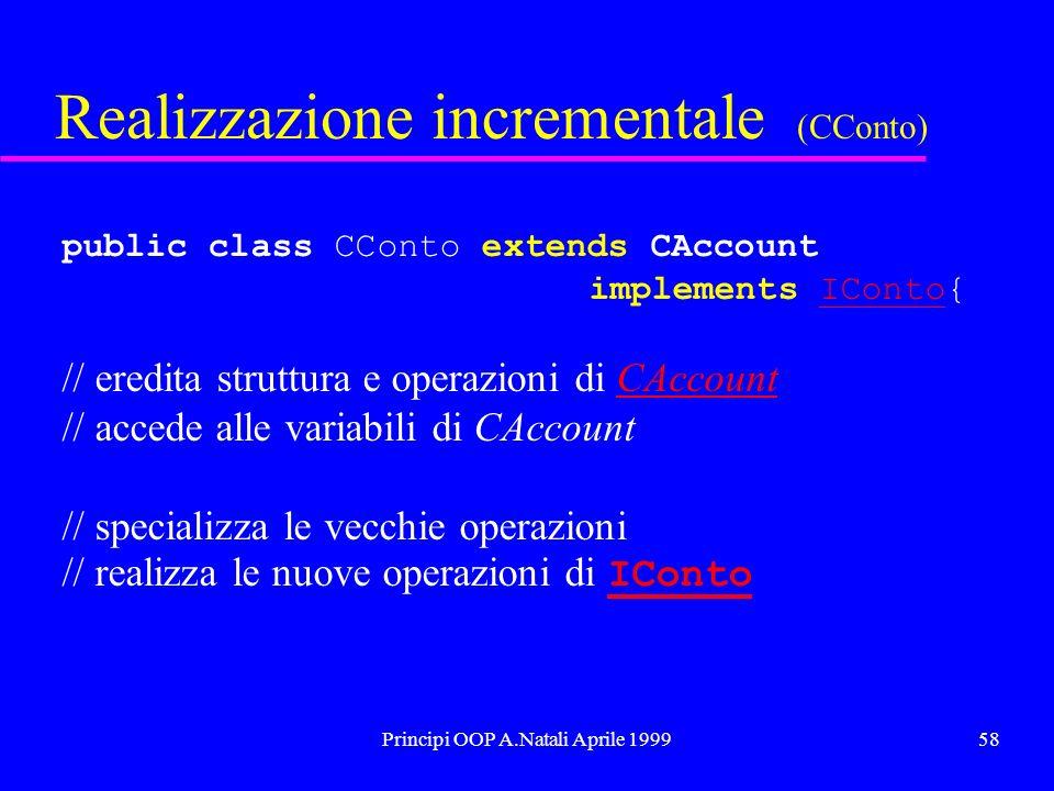Principi OOP A.Natali Aprile 199958 Realizzazione incrementale (CConto) public class CConto extends CAccount implements IConto{IConto // eredita strut