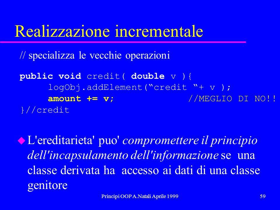 Principi OOP A.Natali Aprile 199959 Realizzazione incrementale // specializza le vecchie operazioni public void credit( double v ){ logObj.addElement(credit + v ); amount += v; //MEGLIO DI NO!.