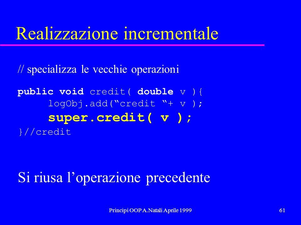 Principi OOP A.Natali Aprile 199961 Realizzazione incrementale // specializza le vecchie operazioni public void credit( double v ){ logObj.add(credit + v ); super.credit( v ); }//credit Si riusa loperazione precedente