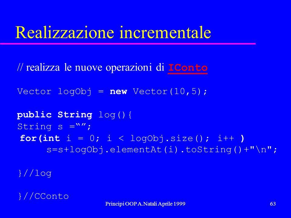 Principi OOP A.Natali Aprile 199963 Realizzazione incrementale // realizza le nuove operazioni di IConto IConto Vector logObj = new Vector(10,5); public String log(){ String s =; for(int i = 0; i < logObj.size(); i++ ) s=s+logObj.elementAt(i).toString()+ \n ; }//log }//CConto