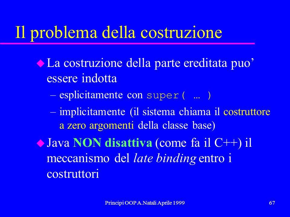 Principi OOP A.Natali Aprile 199967 Il problema della costruzione u La costruzione della parte ereditata puo essere indotta –esplicitamente con super( … ) –implicitamente (il sistema chiama il costruttore a zero argomenti della classe base) u Java NON disattiva (come fa il C++) il meccanismo del late binding entro i costruttori