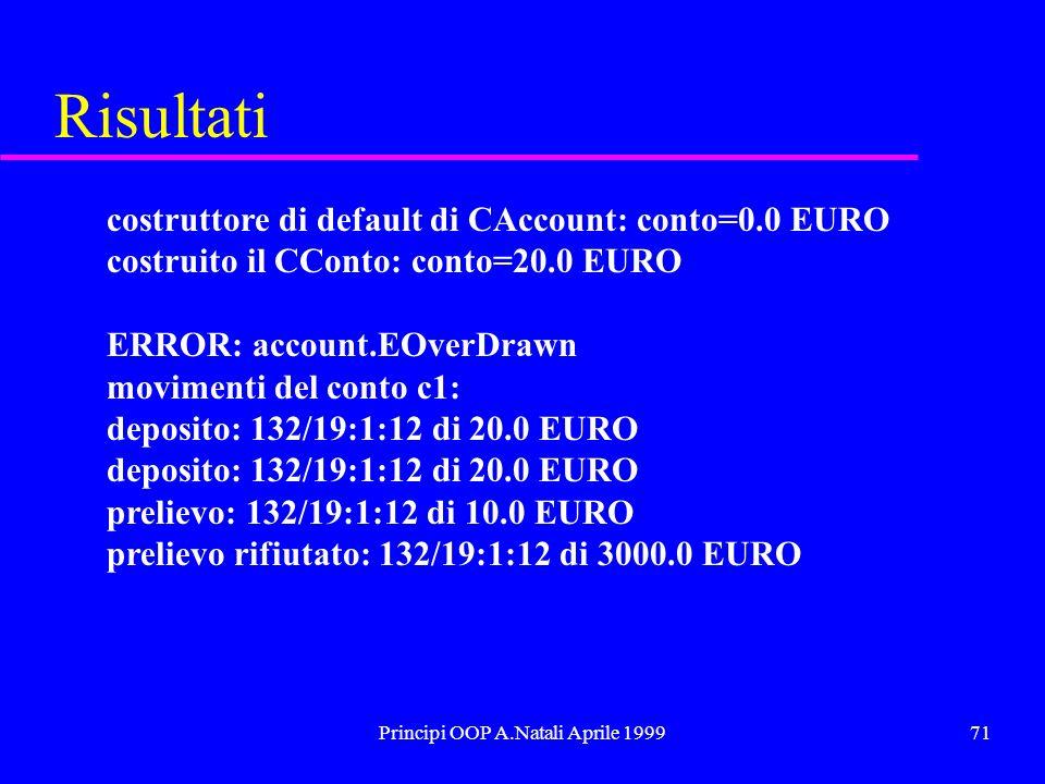 Principi OOP A.Natali Aprile 199971 Risultati costruttore di default di CAccount: conto=0.0 EURO costruito il CConto: conto=20.0 EURO ERROR: account.EOverDrawn movimenti del conto c1: deposito: 132/19:1:12 di 20.0 EURO prelievo: 132/19:1:12 di 10.0 EURO prelievo rifiutato: 132/19:1:12 di 3000.0 EURO