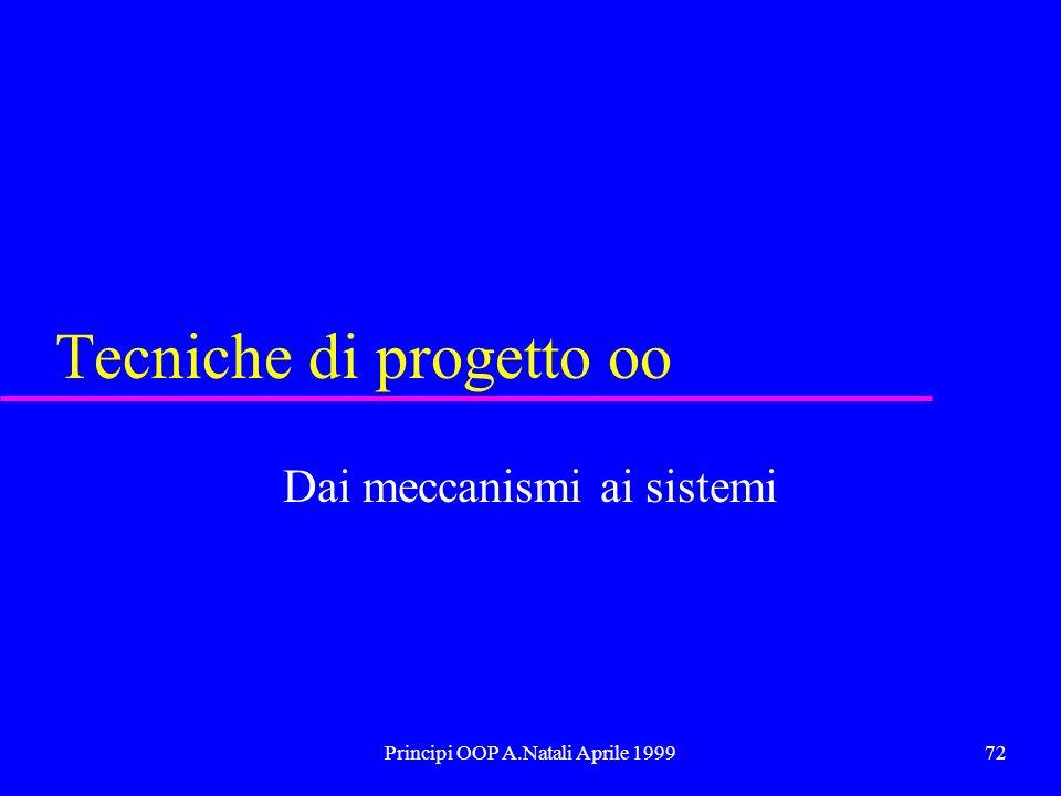 Principi OOP A.Natali Aprile 199972 Tecniche di progetto oo Dai meccanismi ai sistemi