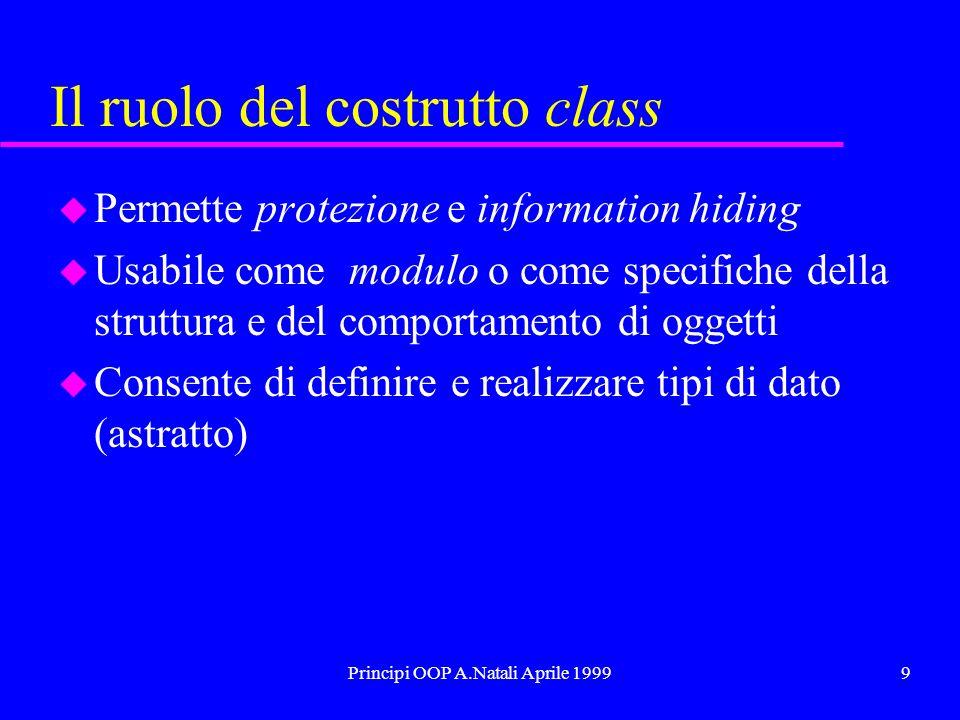 Principi OOP A.Natali Aprile 19999 Il ruolo del costrutto class u Permette protezione e information hiding u Usabile come modulo o come specifiche della struttura e del comportamento di oggetti u Consente di definire e realizzare tipi di dato (astratto)