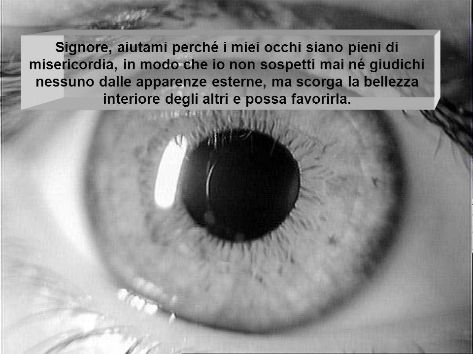 Signore, aiutami perché i miei occhi siano pieni di misericordia, in modo che io non sospetti mai né giudichi nessuno dalle apparenze esterne, ma scor
