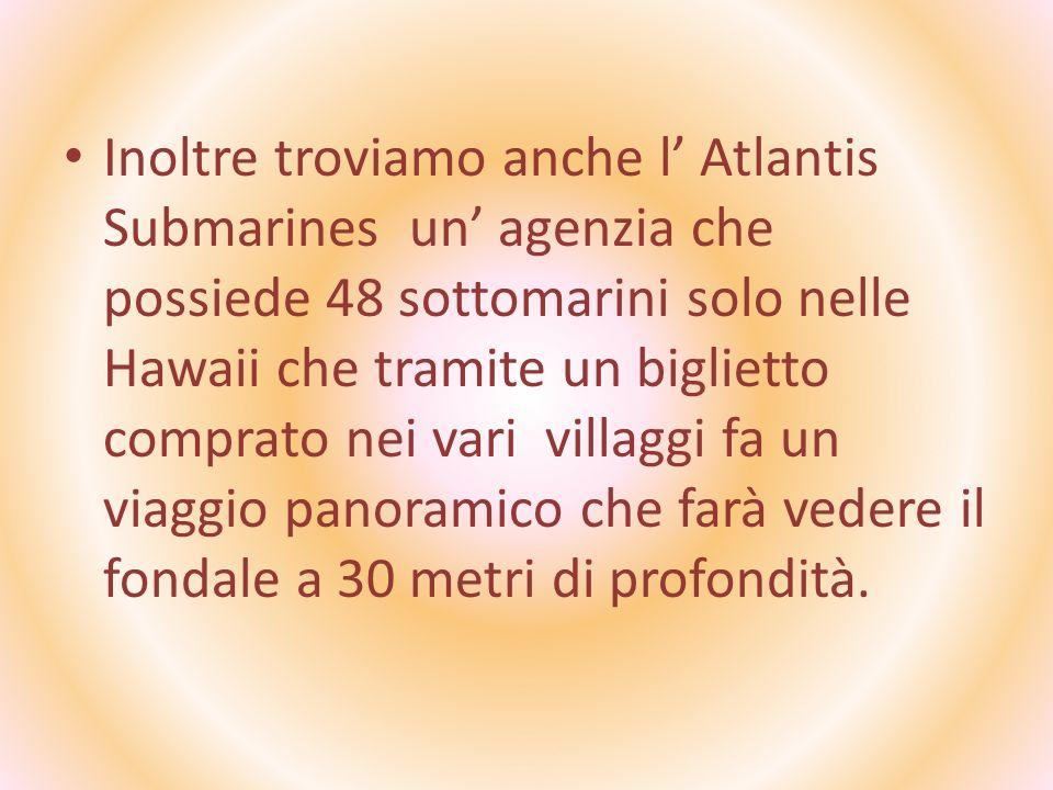 Inoltre troviamo anche l Atlantis Submarines un agenzia che possiede 48 sottomarini solo nelle Hawaii che tramite un biglietto comprato nei vari villa