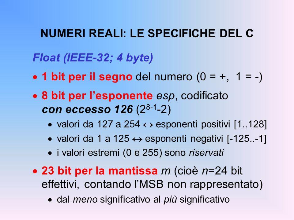 NUMERI REALI: LE SPECIFICHE DEL C Float (IEEE-32; 4 byte) 1 bit per il segno del numero (0 = +, 1 = -) 8 bit per lesponente esp, codificato con eccess