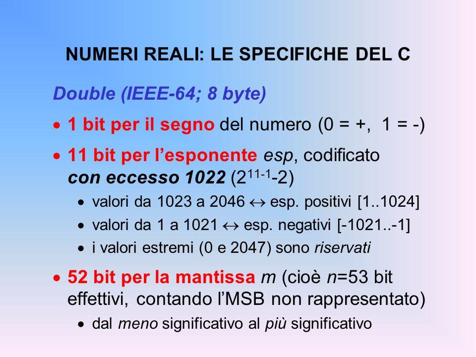 NUMERI REALI: LE SPECIFICHE DEL C Double (IEEE-64; 8 byte) 1 bit per il segno del numero (0 = +, 1 = -) 11 bit per lesponente esp, codificato con ecce