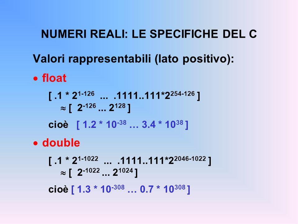 NUMERI REALI: LE SPECIFICHE DEL C Valori rappresentabili (lato positivo): float [.1 * 2 1-126....1111..111*2 254-126 ] [ 2 -126... 2 128 ] cioè [ 1.2