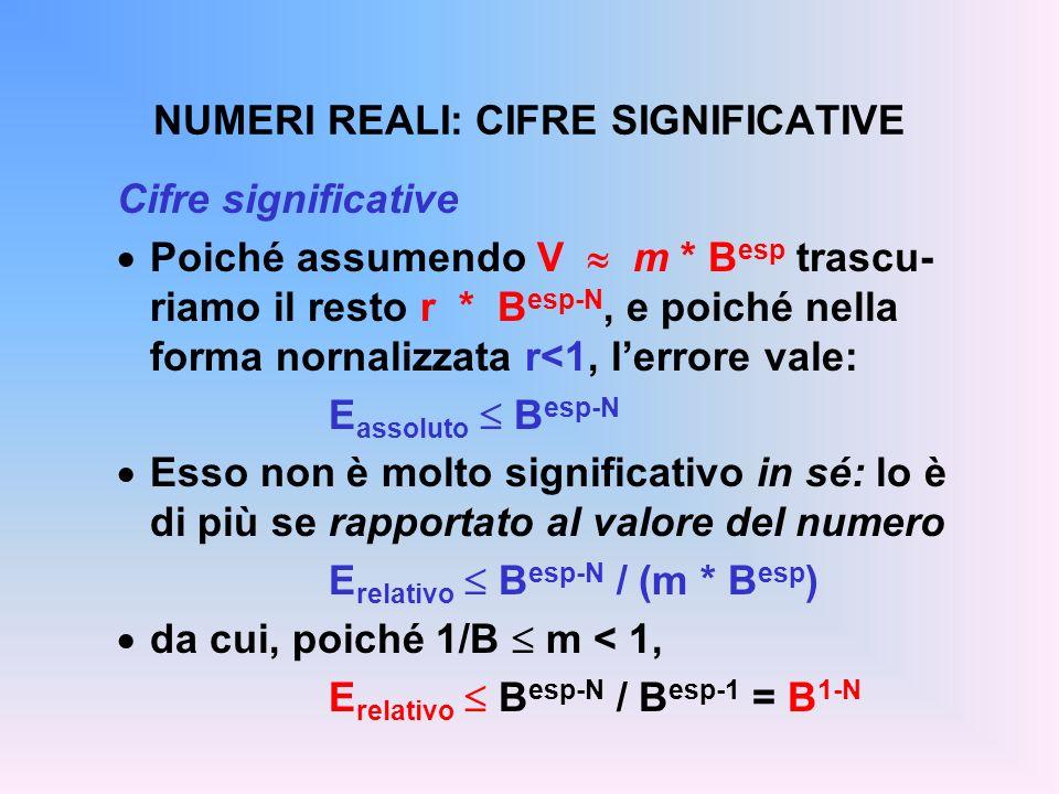NUMERI REALI: CIFRE SIGNIFICATIVE Cifre significative Poiché assumendo V m * B esp trascu- riamo il resto r * B esp-N, e poiché nella forma nornalizza
