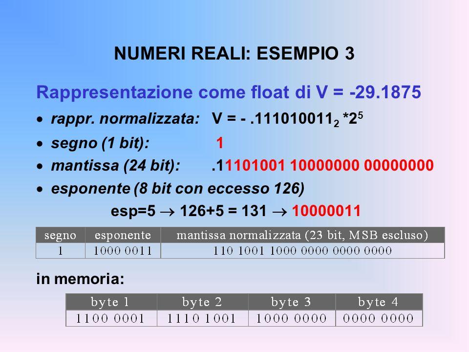 NUMERI REALI: ESEMPIO 3 Rappresentazione come float di V = -29.1875 rappr. normalizzata: V = -.111010011 2 *2 5 segno (1 bit): 1 mantissa (24 bit):.11