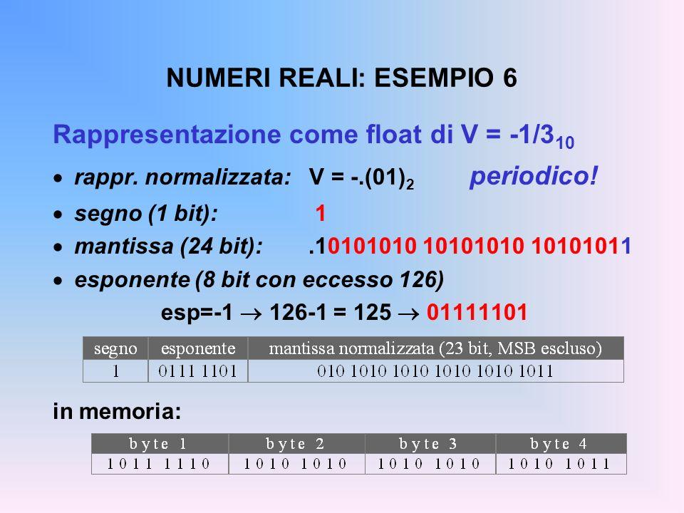 NUMERI REALI: ESEMPIO 6 Rappresentazione come float di V = -1/3 10 rappr. normalizzata: V = -.(01) 2 periodico! segno (1 bit): 1 mantissa (24 bit):.10