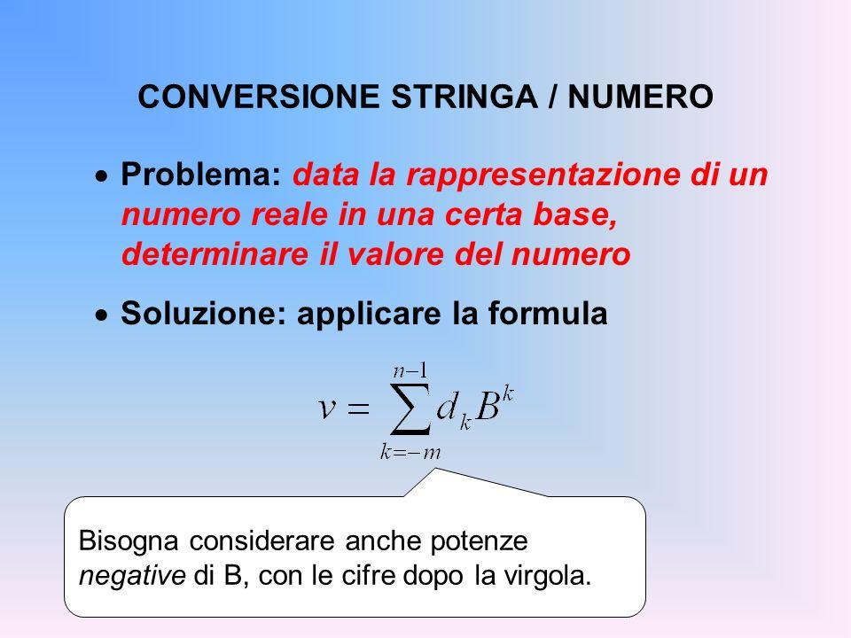 CONVERSIONE STRINGA / NUMERO Problema: data la rappresentazione di un numero reale in una certa base, determinare il valore del numero Soluzione: appl