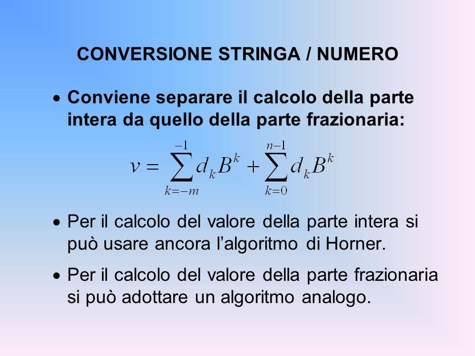 CONVERSIONE STRINGA / NUMERO Conviene separare il calcolo della parte intera da quello della parte frazionaria: Per il calcolo del valore della parte