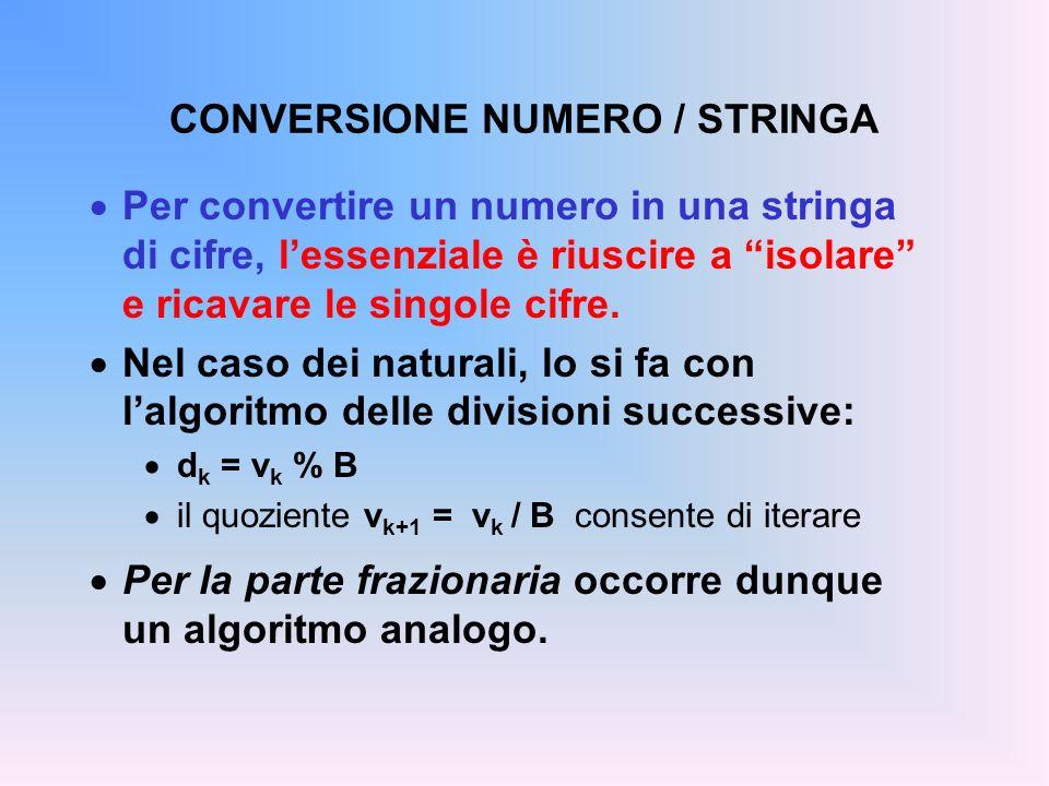 CONVERSIONE NUMERO / STRINGA Per convertire un numero in una stringa di cifre, lessenziale è riuscire a isolare e ricavare le singole cifre. Nel caso