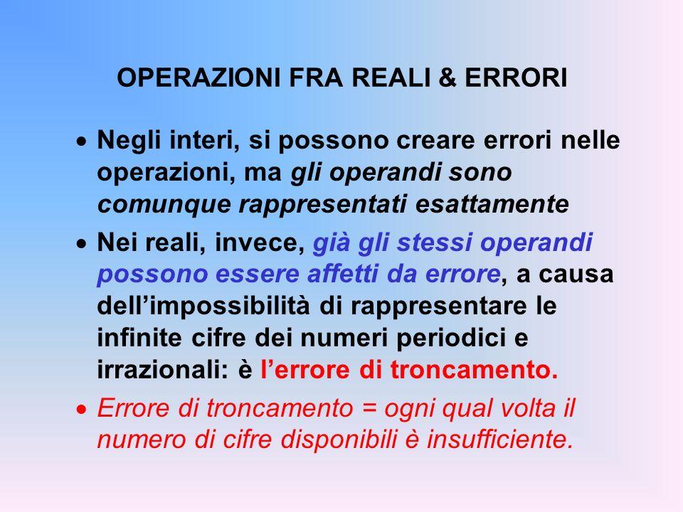 OPERAZIONI FRA REALI & ERRORI Negli interi, si possono creare errori nelle operazioni, ma gli operandi sono comunque rappresentati esattamente Nei rea