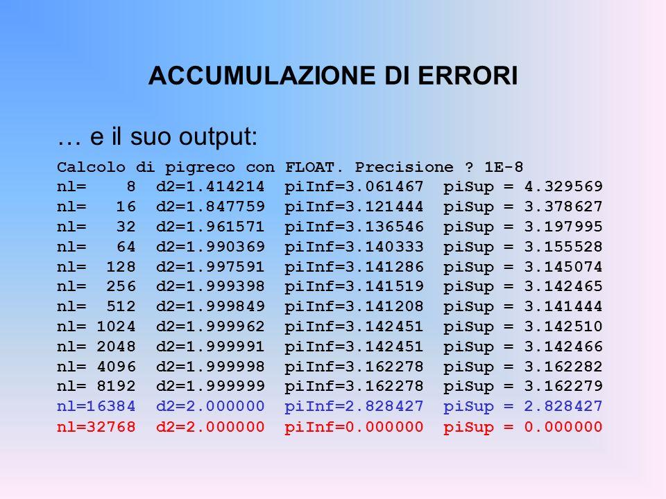 ACCUMULAZIONE DI ERRORI … e il suo output: Calcolo di pigreco con FLOAT. Precisione ? 1E-8 nl= 8 d2=1.414214 piInf=3.061467 piSup = 4.329569 nl= 16 d2