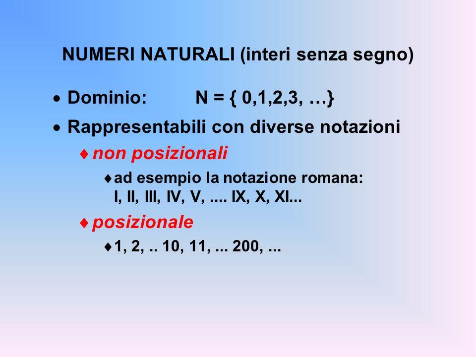 NUMERI NATURALI (interi senza segno) Dominio: N = { 0,1,2,3, …} Rappresentabili con diverse notazioni non posizionali ad esempio la notazione romana: