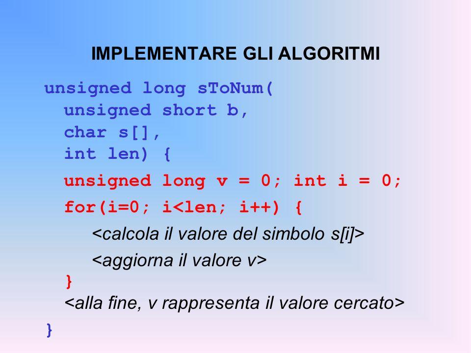 IMPLEMENTARE GLI ALGORITMI unsigned long sToNum( unsigned short b, char s[], int len) { unsigned long v = 0; int i = 0; for(i=0; i<len; i++) { } }